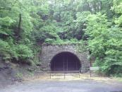 This old railroad tunnel is gated off. Looks like I'm going up and over.
